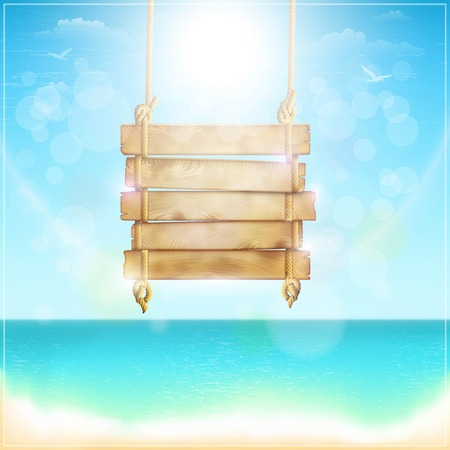 Blank Wooden Sign On a Beach. Vector Illustration. Illustration