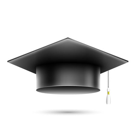 Isolated Realistic Black Student Hat  Vector Illustration