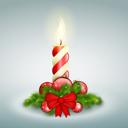Christmas Candle With Fir Branches. Vector Illustration.