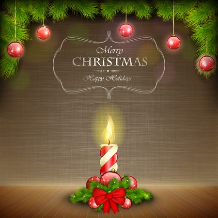 Christmas Candle On Scratched Background. Vector Illustration. Illustration