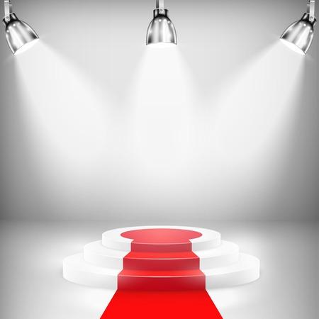 celebrities: Illuminated Podium With Red Carpet. Vector Illustration.