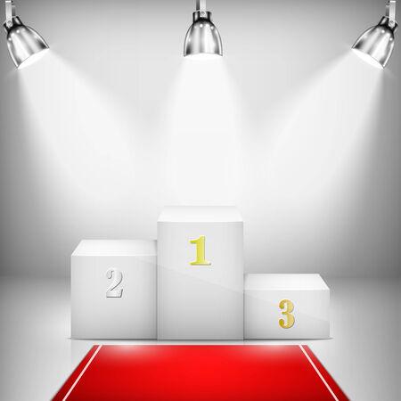 semaforo rojo: Pedestal Ganador iluminada con la alfombra roja. Ilustraci�n del vector.