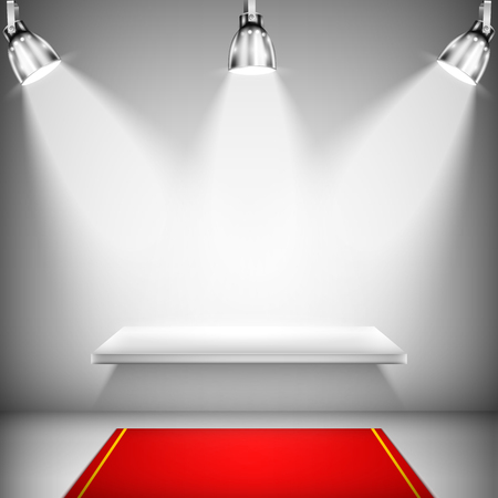 red carpet event: Illuminated Shelf With Red Carpet. Vector Illustration.
