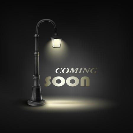 街路灯の下ですぐに来てください。  イラスト・ベクター素材