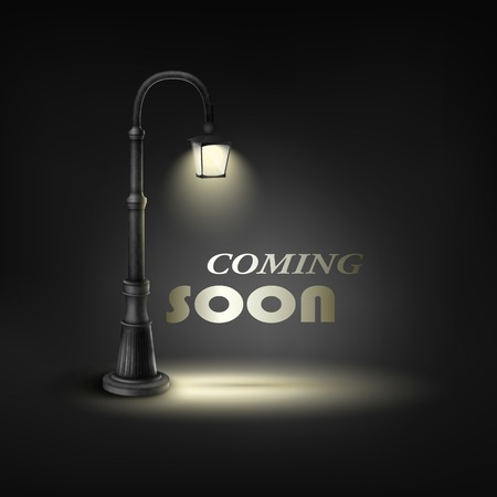 spotlight white background: Coming Soon With Under Street Lamp.