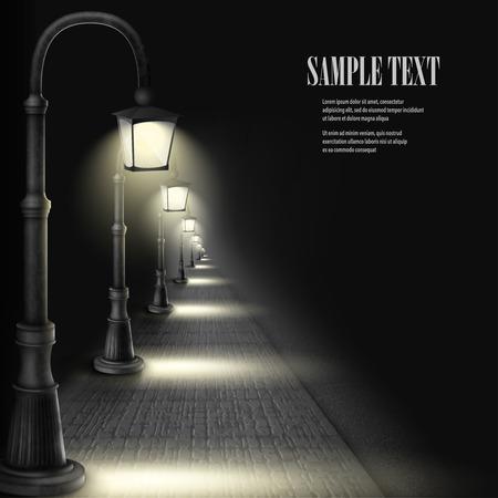 lampposts: Lamps Along Paving Block Street. Illustration