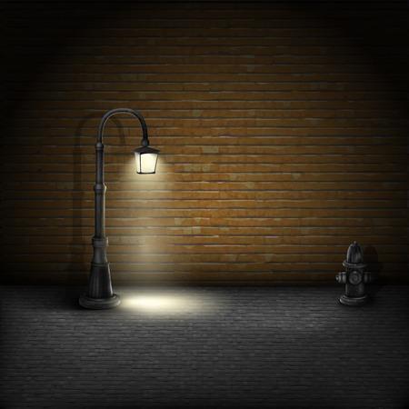 빈티지에 Streetlamp에 벽돌 벽 배경.