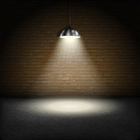 Spotlight On bakstenen muur achtergrond. Stock Illustratie