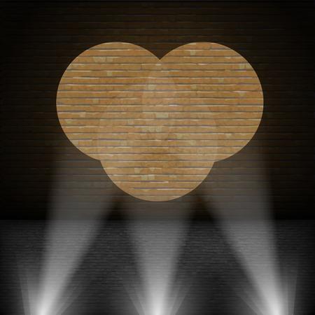 Lanterns Beam on Brick Wall. Vector