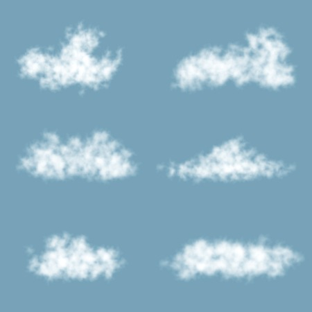Vector Transparency Gradient Clouds Set