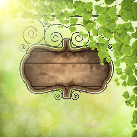 Vintage Signboard on Nature Background. Illustration