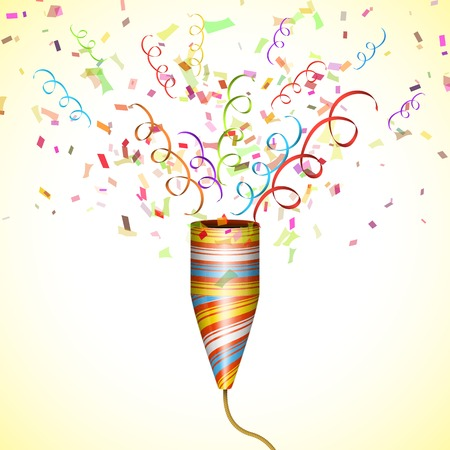 Exploding Party Popper With Confetti. Illustration