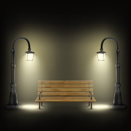 in night: Bench Illuminated By Street Lamps.