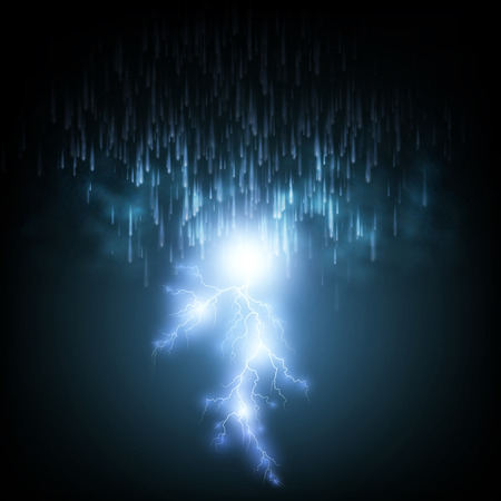 Thunderstorm Background With Rain and Lightning, Illustration