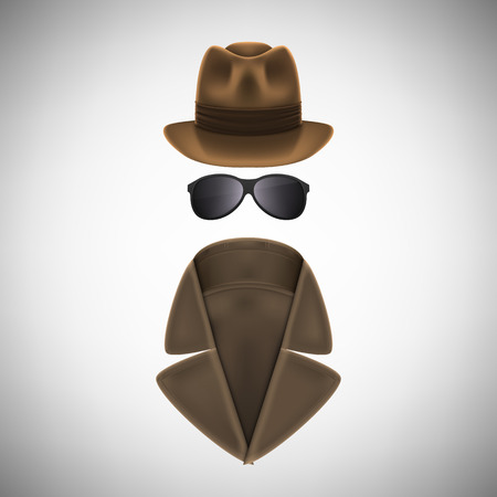 inspector: Private Eye Hat, Glasses and Raincoat.