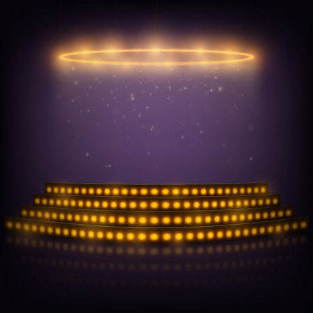 floodlight: Podium for Performances with Spotlights. Illustration