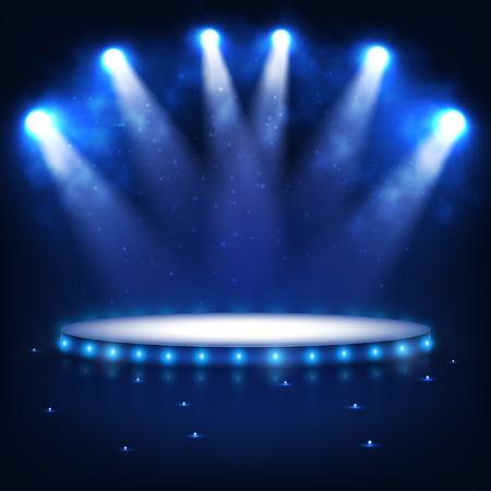 Podświetlany Podium dla prezentacji w ciemnościach. Ilustracje wektorowe