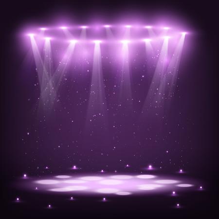 Stage met Spotlights en Spark Rain.