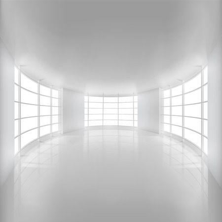 living room wall: White Rounded Room Illuminated by Sunlight. Illustration