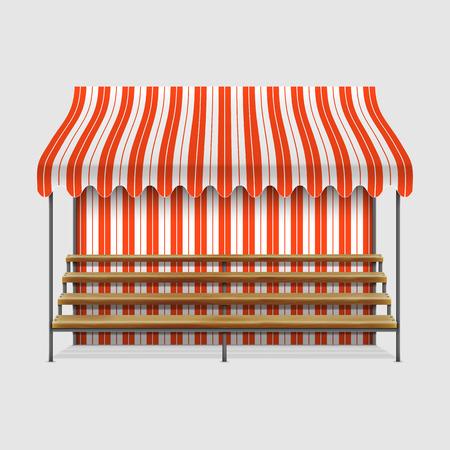 wooden shelves: Market Stall With Wooden Shelves.