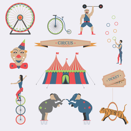 circus elephant: Set of Circus Flat Icons.
