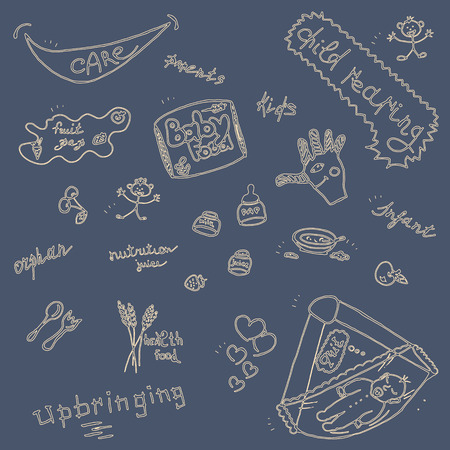 upbringing: Childcare Doodle Icon Set On Blue.