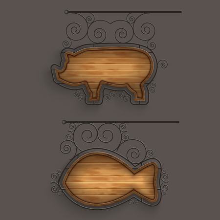 pig iron: Illuminated Set of Wooden Signboards. Illustration