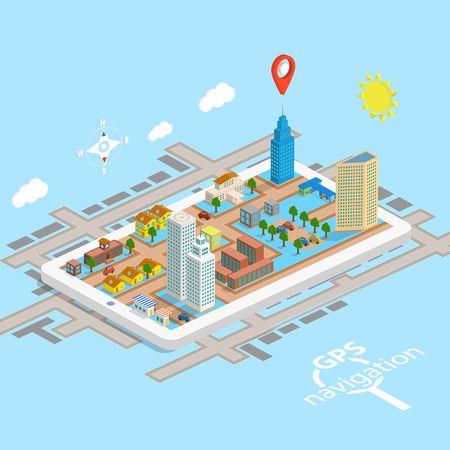 GPS Mobile Navigation Isometric Map. Vector