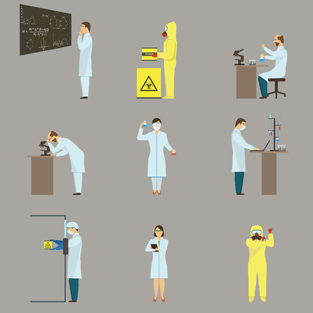 radiation suit: Set of Scientific Characters.