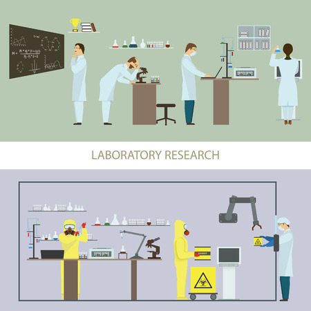 chemical hazard: Laboratory Research by Group of Scientists.