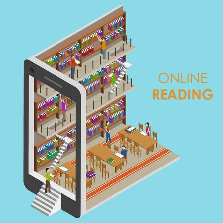 biblioteca: Lectura en l�nea conceptual isom�trica Ilustraci�n.