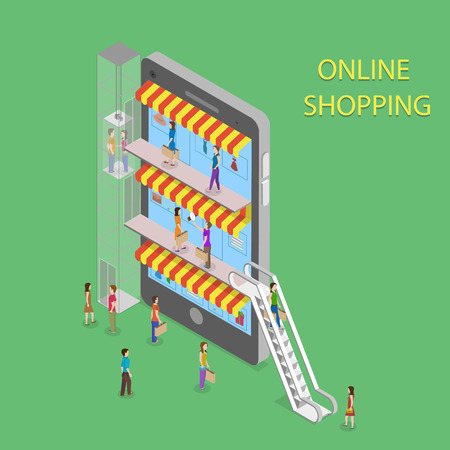 escalator: Online Shopping Isometric Concept Illustration. Illustration