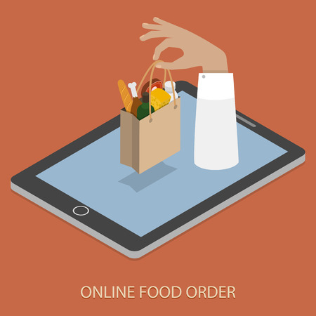 groceries shopping: Online Foood Ordering Concept Illustration.