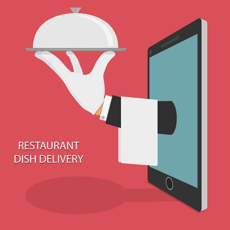 meseros: Restaurante de comida para llevar ilustraci�n del concepto.
