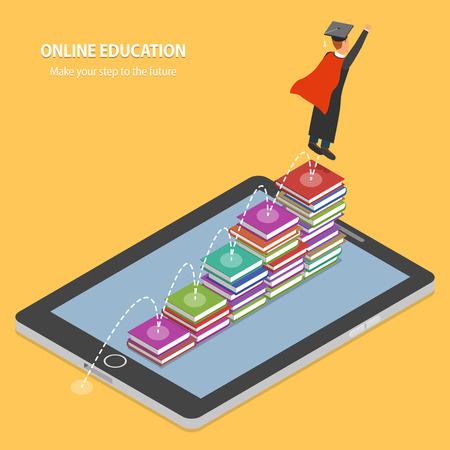 students college: Online Education Flat Isometric Concept.