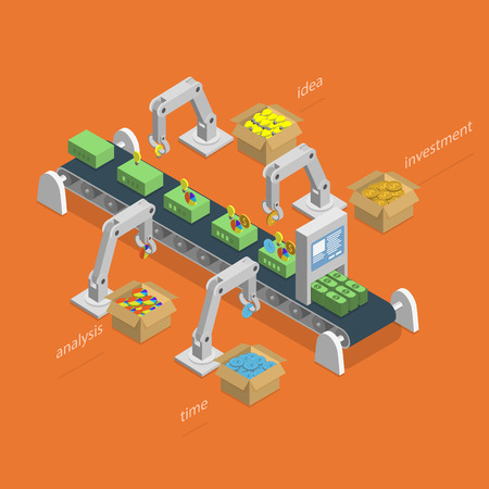factory machine: Money Making Process Isometric Concept. Illustration