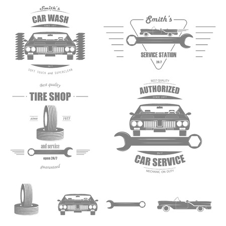 auto service: Car Service Vector Badge Set. Illustration