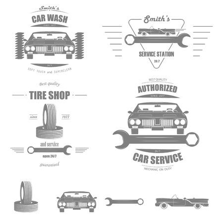 auto racing: Car Service Vector Badge Set. Illustration