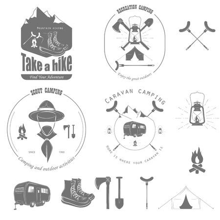 rv: Outdoor Recreation Vector Badge Set.