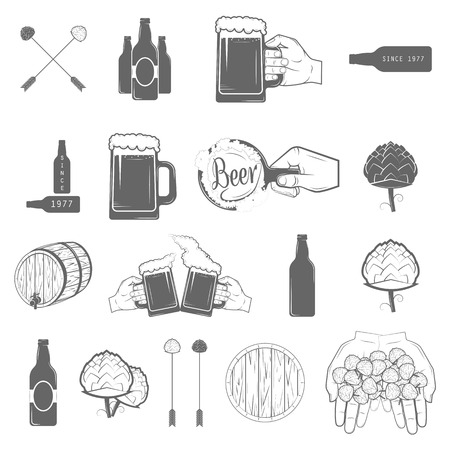 Set of Two-color Beer Craft Icons. Vector