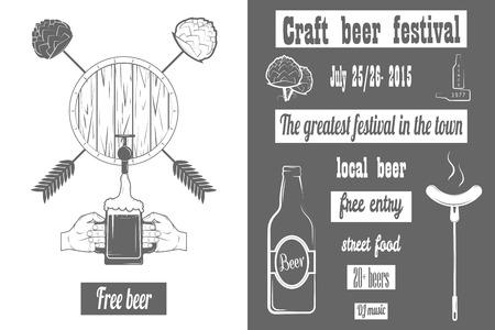 맥주 크래프트 페스트 2 색 포스터. 일러스트