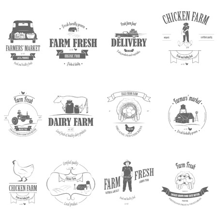 vintage truck: Farm Fresh Products Badge Set.