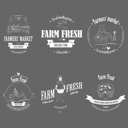 Farm Fresh Products Badge Set. Banco de Imagens - 40326562