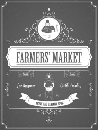 農民市場のビンテージ広告ポスター。  イラスト・ベクター素材