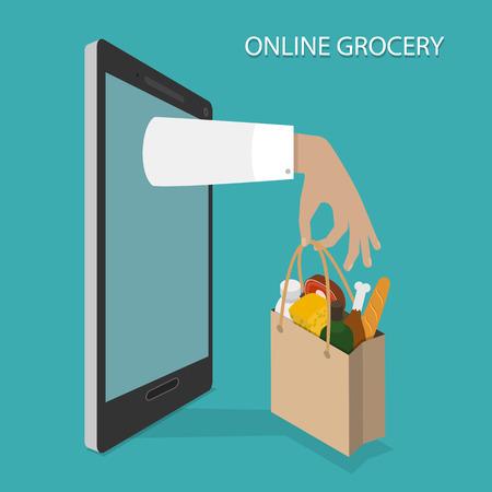abarrotes: Orden de comestibles en l�nea, entrega vectorial Concept. Vectores
