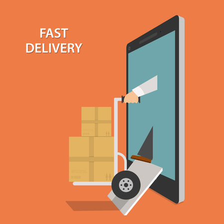 delivery truck: Fast Goods Delivery Isometric Vector Illustraion Illustration
