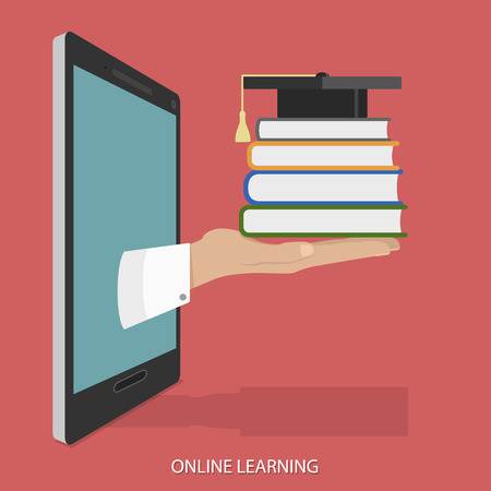 mobile devices: Online Education Flat Isometric Vector Concept.