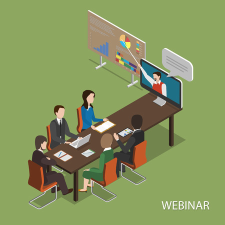 conferences: Webinar Flat Isometric Vector Concept. Illustration