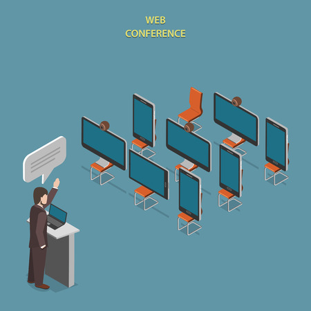 conference speaker: Web Conference Flat Isometric Vector Concept.