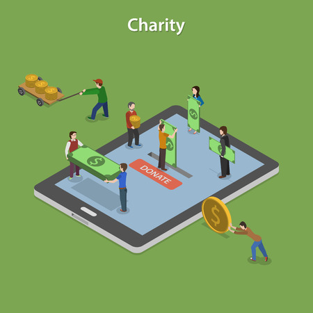 donate: Charity Flat Isometric Vector Concept.